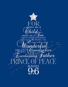 christmas word art isaiah 96 digital printable 500 via etsy - Christian Christmas Pictures