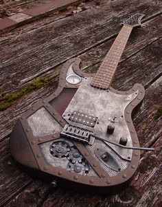 Steampunk Copper Colour LED Guitar