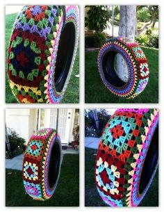 Yarn Bombing Tire Swing