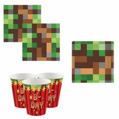 Denne Bursdagspakkene inneholder 8 kopper,8 asjetter Og 16 servietter-minecraft -bursdag -barnebursdag - fest -party Tnt Minecraft, Gaming, Video Games, Game, Games