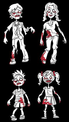 Zombie Family Stickers Set of 4