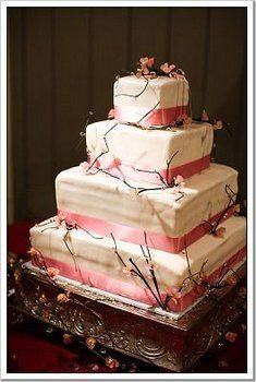 Wedding, Cake, Pink, Cherry blossoms - Photo by Boutwell Studios