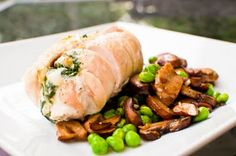 Spinach-Stuffed Chicken Breasts with Spicy Peas and Mushrooms {Via My Fiance Likes It So It Must Be Good}