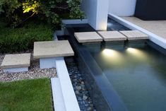 Backyard Ponds And Water Garden Ideas - modern water feature with square stepping stones Modern Landscape Design, Modern Landscaping, Pool Landscaping, Modern Design, Landscaping Melbourne, Japan Landscape, Contemporary Landscape, Pond Design, Garden Design