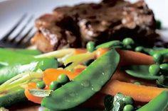 Spring carrot, spring onion and pea braise – Recipes – Bite Lamb Loin Chops, Pan Fried Fish, Grilled Lamb, Sugar Snap Peas, Vegan Gluten Free, Food To Make, Onion, Nom Nom