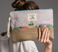 Palm Print Zipper Pouch Monogram Makeup Bag by theAtlanticOcean Linen Bag, Denim Bag, Fabric Bags, Summer Bags, Small Bags, Zipper Pouch, Cosmetic Bag, Traveling By Yourself, Creations