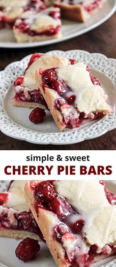 These adorable Cherry Pie Bars are summer sweetness in a bite. The cake base is heavenly. Not at all crumbly, it slices extremely well, which is sometimes not the case when I make cherry pies. Cherry Pie Bars, Sweet Cherry Pie, Cherry Pies, Cherry Desserts, Easy Desserts, Filipino Desserts, Cherry Pie Filling Desserts, Cherry Pie Cupcakes, Simple Dessert Recipes