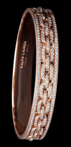 Ralph Lauren 18K rose gold single-chain bangle with diamonds: