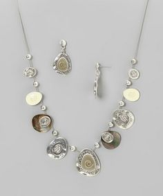 Loving this Silver & Shell Swirl Disc Necklace & Drop Earrings on #zulily! #zulilyfinds