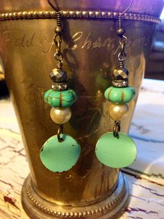 Vintage Turquoise, Pearls, Rhinestone Recycled Style Earrings on Etsy, $20.00