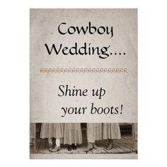 Shine Up Your Boots Cowboy Wedding Invitation
