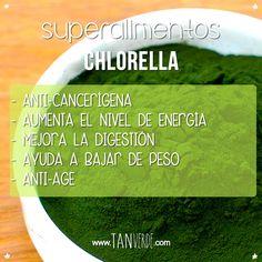 Beneficios de la Chlorella: Desintoxicante, facilita la digestión, actúa contra la cándida y hongos, anticancerígena, ayuda a bajar de peso.  Probala en nuestros JUGOS VERDES! www.tanverde.com
