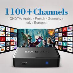 최고 품질 IPTV 상자 MAG 250 1100 + 라이브 TV 채널 아랍어 프랑스어 스카이 이탈리아 유럽 IPTV 상자 무료 배송