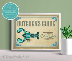 Lobster Cuts Print Wall Art