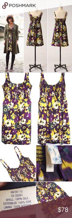 Anthropologie Floral Silk Dress Gorgeous!! Anthropologie Maeve 'Giverny' Silk Dress. Smocked top frock blooms with watercolor posies. Pullover styling. Silk shell; acetate lining. Two functional side pockets. Size M. Excellent, Like New condition!!! No rips/tears/stains. No Trades! All Reasonable Offers Accepted! Anthropologie Dresses