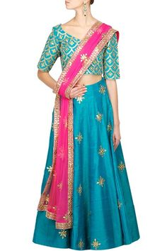 Lehengas , Clothing, Carma, Peacock blue raw silk lehenga with gotapati work comes along with crepe blouse and net allover dupat