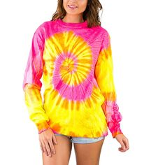 Exist Pink Yellow Spiral Tie-Dye Long-Sleeve Tee ($13) ❤ liked on Polyvore featuring tops, t-shirts, pink top, yellow t shirt, pink t shirt, long sleeve yellow t shirt and tie dye t shirts