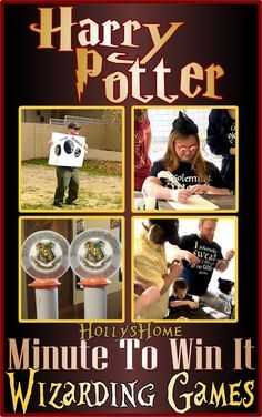 HollysHome Family Life: Harry Potter Minute to Win it Games – Dinner Ideas – Recipes Harry Potter Adult Party, Harry Potter Motto Party, Harry Potter Thema, Harry Potter Halloween Party, Harry Potter Girl, Harry Potter Classroom, Harry Potter Christmas, Harry Potter Birthday, Halloween Games