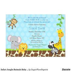 Safari Jungle Animals Baby Shower Invitations Boys