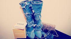 DIY DENIM BOOTS - DIY JEAN BOOTS - YouTube Shoe Makeover, Denim Boots, Ballet Flats, Diy, Shoes, Build Your Own, Zapatos, Ballerina Pumps, Bricolage