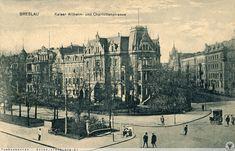 Nie istniejące dzis skrzyżowanie ul. Kruczej i Powstańców Śląskich. Widoczna na zdjęciu piękna zabudowa ulegla kompletnemu zniszczeniu w 1945 roku