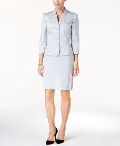 Tahari Asl Embellished Jacquard Skirt Suit