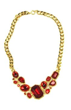 Trifari Ruby Red Cluster Glass Stone Necklace 1980s, $225