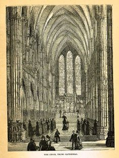 """Our National Cathedrals - """"TRURO CATHEDRAL - CHOIR"""" - Wood Engraving - 1887"""