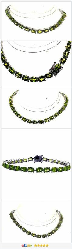 50% OFF #EBAY http://stores.ebay.com/JEWELRY-AND-GIFTS-BY-ALICE-AND-ANN  Peridot Tennis Bracelet 15.00 carats 8 inches Sterling Silver