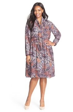 Sejour Scarf Print Tie Neck Dress (Plus Size) available at #Nordstrom
