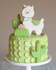Glory on Move over unicorns, its llamas turn Llama and cactus cake for my babys birthday. Chocolate cake and cream cheese Cake Cookies, Cupcake Cakes, Kid Cakes, Fancy Cookies, Gateau Baby Shower, Cactus Cake, Llama Birthday, Gateaux Cake, Savoury Cake
