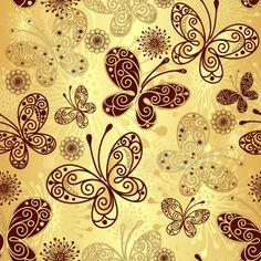 De fondo conjunto de vectores de oro de la mariposa