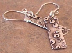Silver Metal Clay Rectangular Textured Earrings by DaVoria on Etsy, $34.00
