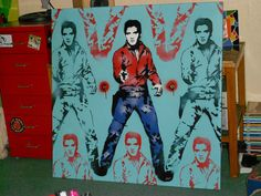 elvis presley stencil art painting,spraypaints, andy warhol,pop art,custom,hand made,cowboy,gift,icon,music,rock & roll,large canvas,urban on Etsy, $319.00