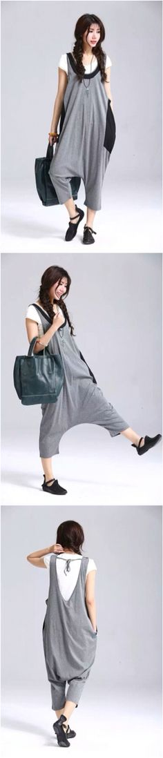 Causel overall gray trousers women summer pants