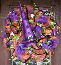 30 Deco Mesh Tall PURPLE WITCH'S HAT Wreath by decoglitz on Etsy