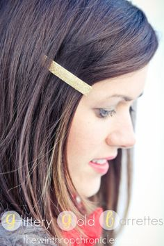 Glittery gold barrettes tutorial, using mod podge products and glitter.