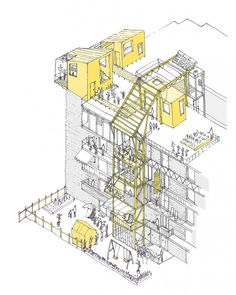Image 2 of 11 from gallery of UN-Habitat Announces Winners of Mass Housing Competition. In Valencia, the housing block is altered by temporary additions. Image Courtesy of Improvistos Nunca Vistos (María Tula García Méndez & Gonzalo Navarrete Mancebo) Architecture Sketches, Architecture Graphics, Architecture Portfolio, Architecture Plan, Architecture Quotes, Architecture Diagrams, Axonometric Drawing, Planer Layout, Concept Diagram