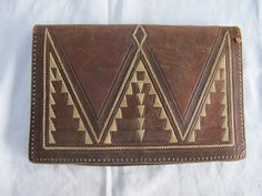 VINTAGE 1920's ART DECO TOOLED LEATHER CLUTCH PURSE BAG