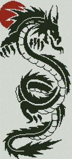 Cuadro en forma de dragón, bordado en punto de cruz