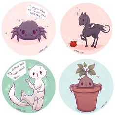 "3,298 curtidas, 19 comentários - Naomi Lord (@naomi_lord) no Instagram: ""Hey guys these four are now available as stickers on my store with the other magical creatures …"""