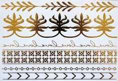 Lulu DK Temporary Jewelry Tattoos. Available in Silver and Gold these temporary silver and gold metallic tattoos are a perfect way to add to any outfit!
