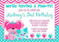 Puppy & Kitty 5x7 Invitation  Girl Birthday by PartySoPerfect, $8.00