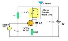 spy circuits fm transmitter 24 3 18 pinterest circuits spy rh pinterest com Electronic Kit FM Transmitter Bug Long Range FM Transmitter Bug