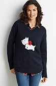 So cute!! I may have to impulse buy this one later...the navy color is a favorite of mine, and the adorable little Scottie dog in contrasting colors is to die for! Normally I'm not big for animals on clothes, but this is too cute to pass up, especially with the little bow! J.Jill | Scottie Pullover