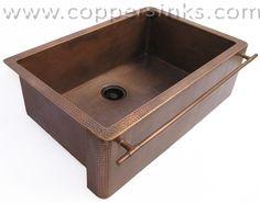 CopperSinks.COM : Copper apron front kitchen sink - towel bar Model: AL-65-30