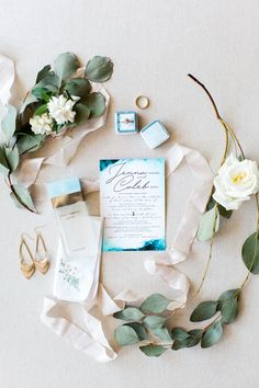 Blue watercolor wedding invitation and bridal details.  Romantic blush backyard Arizona garden wedding by Pinkerton Photography, Arizona Wedding Photographer.