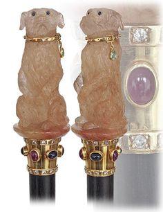 16. High End Jeweled Figural Hard Stone Cane-Ca. : Lot 16