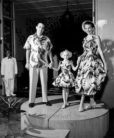Matchy matchy the whole family.  Shaheen Fashion Show Hawaii, 1955