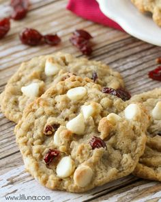 White Chocolate Coconut & Craisin Cookies - so soft and chewy!